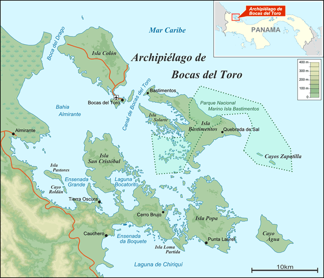 Kaart van de eilanden van de archipel van Bocas del Toro in Panama