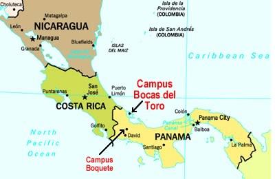 Kaart van Midden-Amerika met een geschatte locatie van Bocas del Toro, Panama